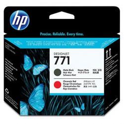 Tête d'impression noire à finition mate/rouge chromatique HP 771