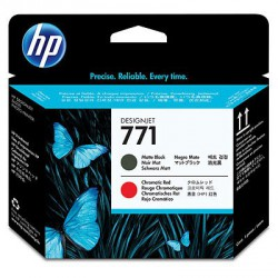 Tête d'impression noire à finition mate/rouge chromatique HP 771