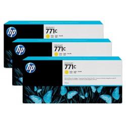 Pack 3 cartouches d'encre photo Vivid HP 771C Jaune - 775 ml