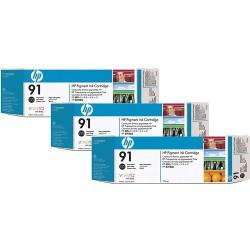 Pack Cartouche d'encre Noir Mat HP 91 3 x 775 ml