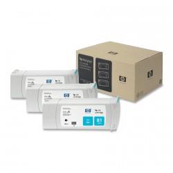 Pack x 3 Cartouches d'encre Cyan HP 81 680ml