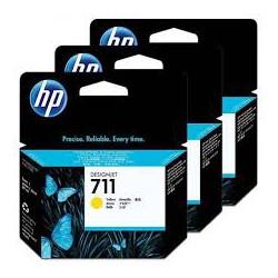 Pack x 3 Cartouche d'encre Jaune HP711 29ml