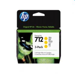 Pack de 3 cartouches d'encre DesignJet HP 712, jaune, 29 ml