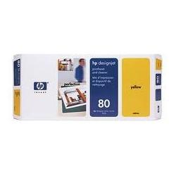 Tête d'impression jaune et dispositif de nettoyage HP nº 80